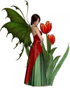 Dark Haired Red Tulip Fairy